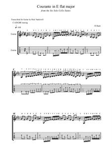 Suite for Cello No.4 in E Flat Major, BWV 1010: Courante, for guitar by Johann Sebastian Bach