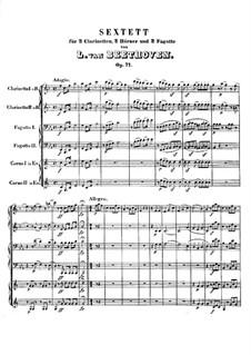 Winds Sextet in E Flat Major, Op.71: Full score by Ludwig van Beethoven