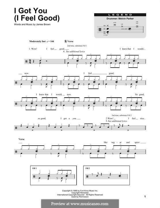 I Got You (I Feel Good): Drum set by James Brown