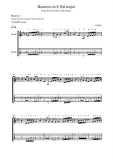 Suite for Cello No.4 in E Flat Major, BWV 1010: Bourrees, for guitar by Johann Sebastian Bach