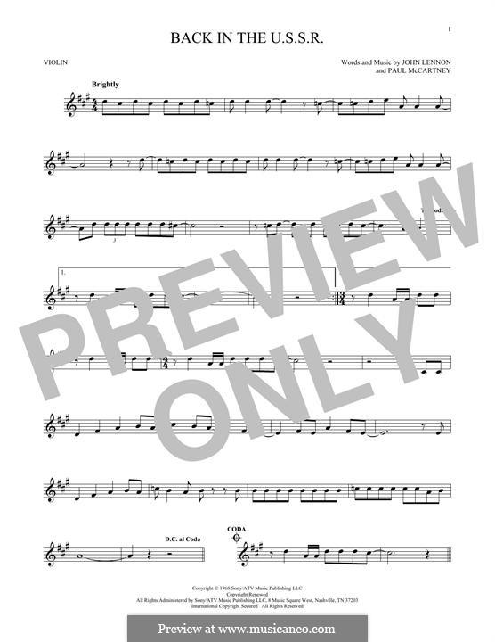 Back in the USSR (The Beatles): For violin by John Lennon, Paul McCartney