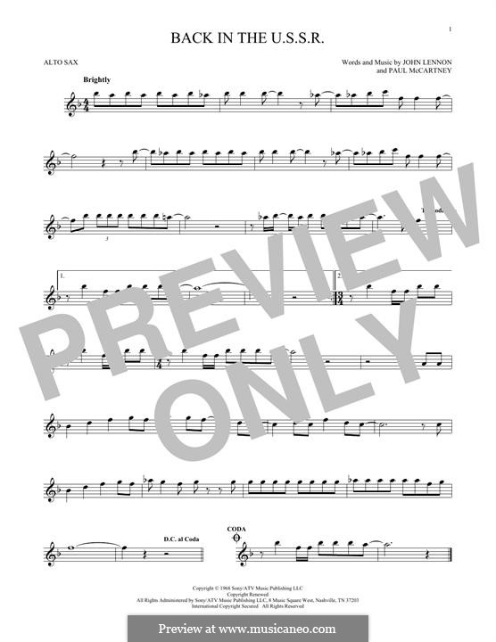 Back in the USSR (The Beatles): For alto saxophone by John Lennon, Paul McCartney