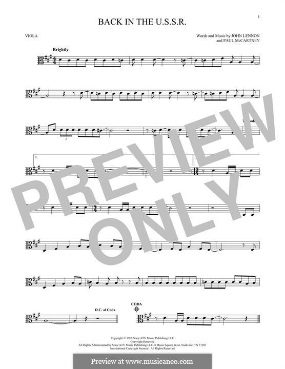 Back in the USSR (The Beatles): For viola by John Lennon, Paul McCartney