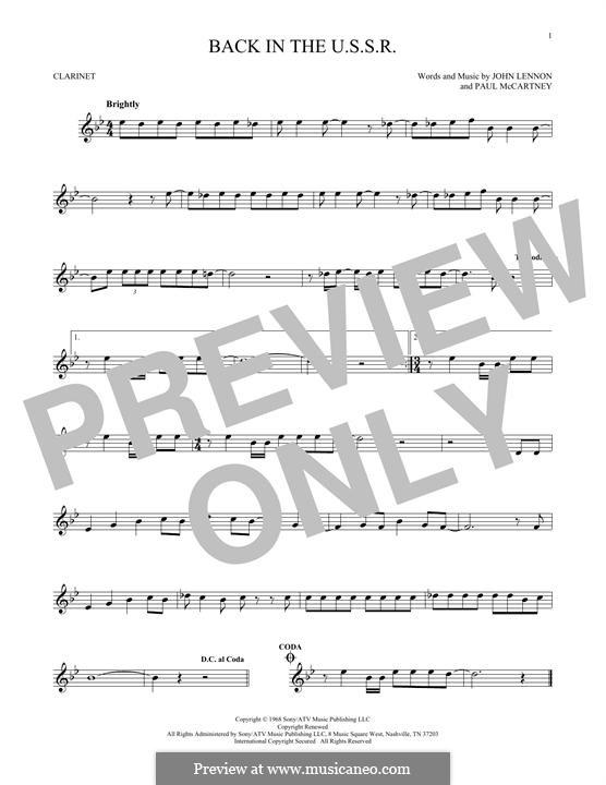 Back in the USSR (The Beatles): For clarinet by John Lennon, Paul McCartney