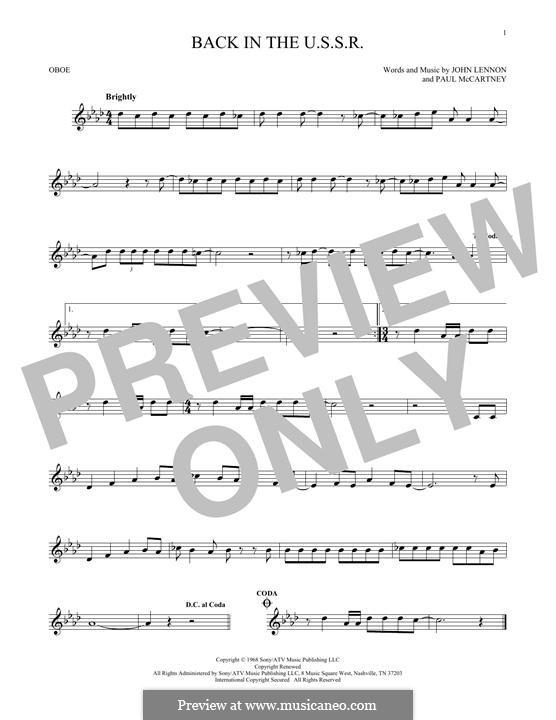 Back in the USSR (The Beatles): For oboe by John Lennon, Paul McCartney
