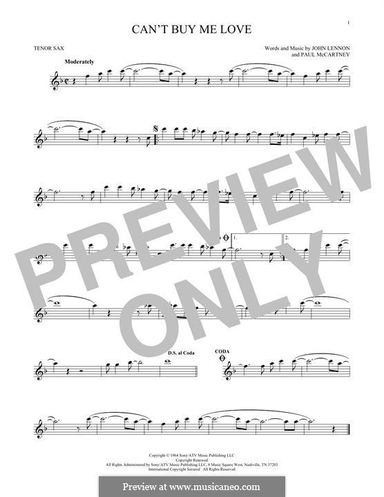 Can't Buy Me Love (The Beatles): For tenor saxophone by John Lennon, Paul McCartney