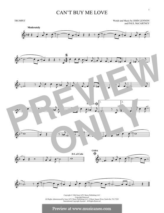 Can't Buy Me Love (The Beatles): For trumpet by John Lennon, Paul McCartney