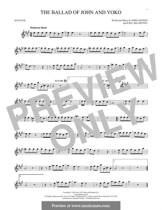 The Ballad of John and Yoko (The Beatles): For alto saxophone by John Lennon, Paul McCartney