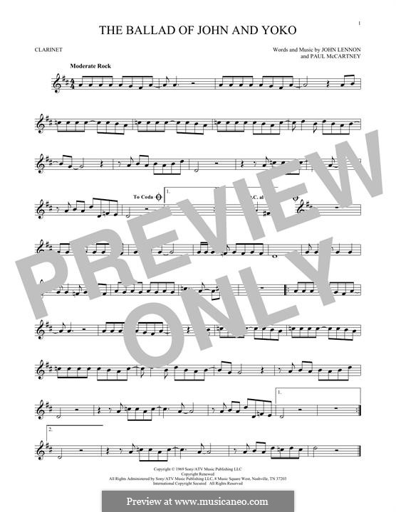 The Ballad of John and Yoko (The Beatles): For clarinet by John Lennon, Paul McCartney