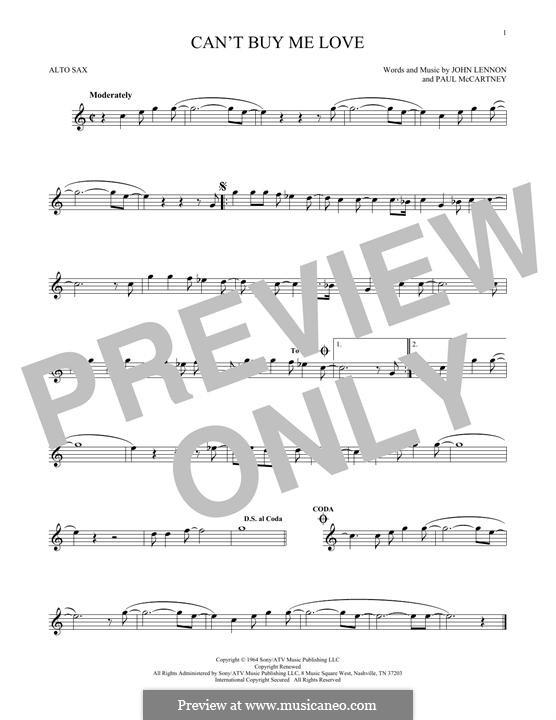 Can't Buy Me Love (The Beatles): For alto saxophone by John Lennon, Paul McCartney