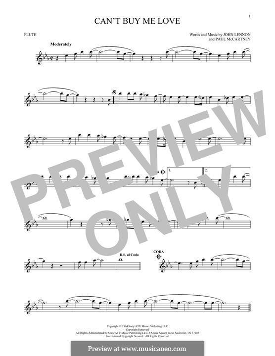 Can't Buy Me Love (The Beatles): For flute by John Lennon, Paul McCartney