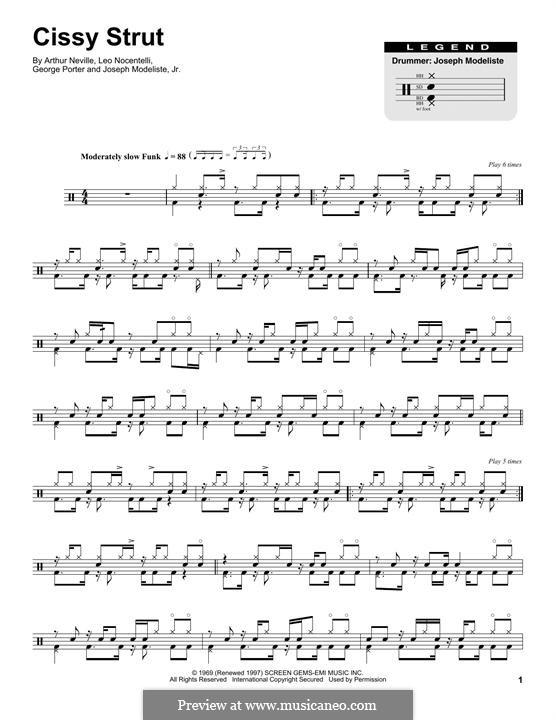 Cissy Strut (The Meters): Drum set by Arthur Neville, George Porter, Joseph Modeliste Jr., Leo Nocentelli