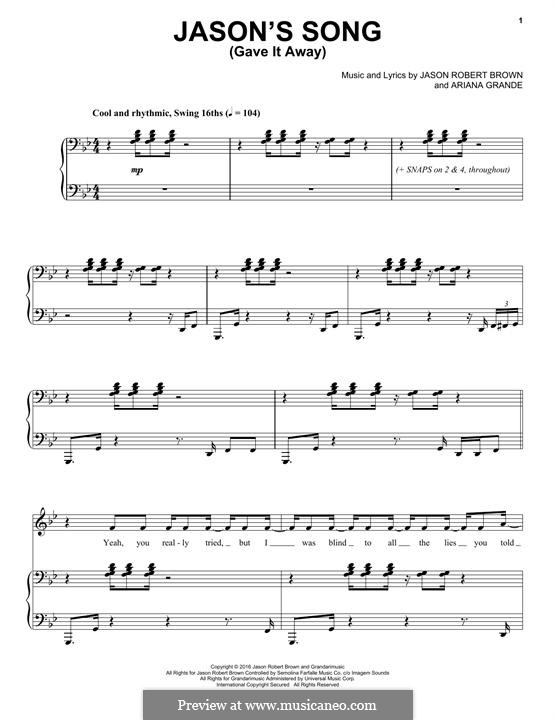 Jason's Song (Gave It Away): For voice and piano by Ariana Grande