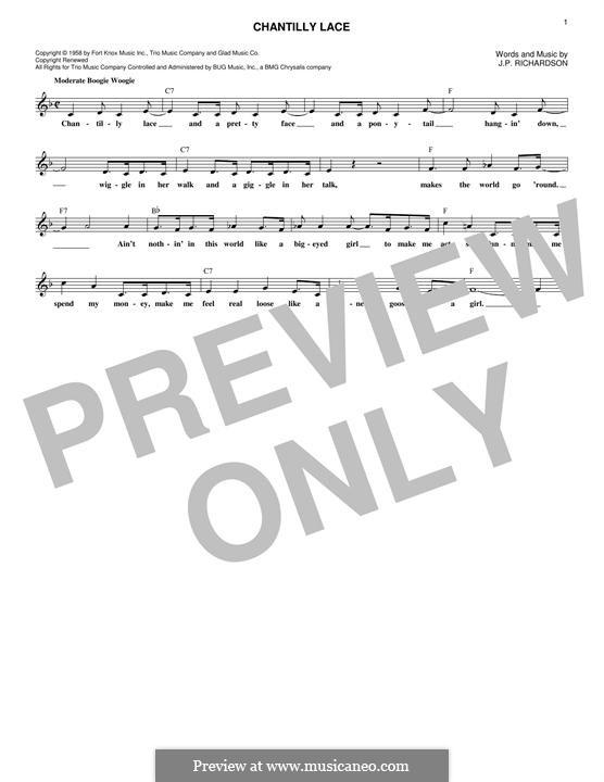 Chantilly Lace (The Big Bopper): Melody line by J.P. Richardson