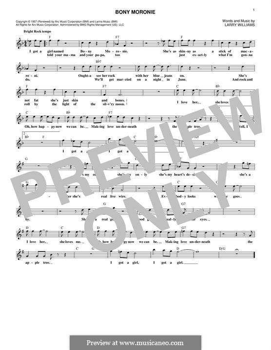 Bony Moronie: Melody line by Larry E. Williams