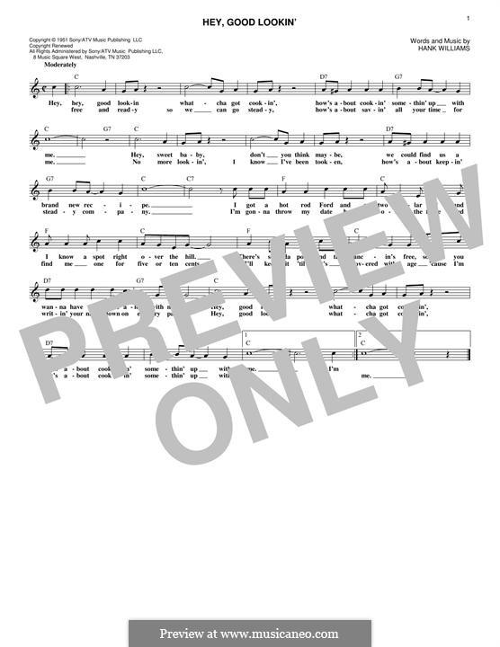 Hey, Good Lookin': Melody line by Hank Williams
