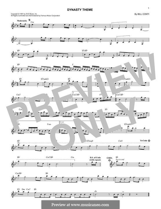 Dynasty (Theme): Melody line by Bill Conti
