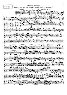 Complete Concerto: Violins I part by Ludwig van Beethoven
