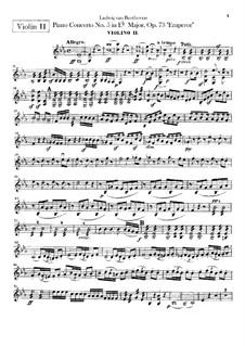 Complete Concerto: Violins II part by Ludwig van Beethoven