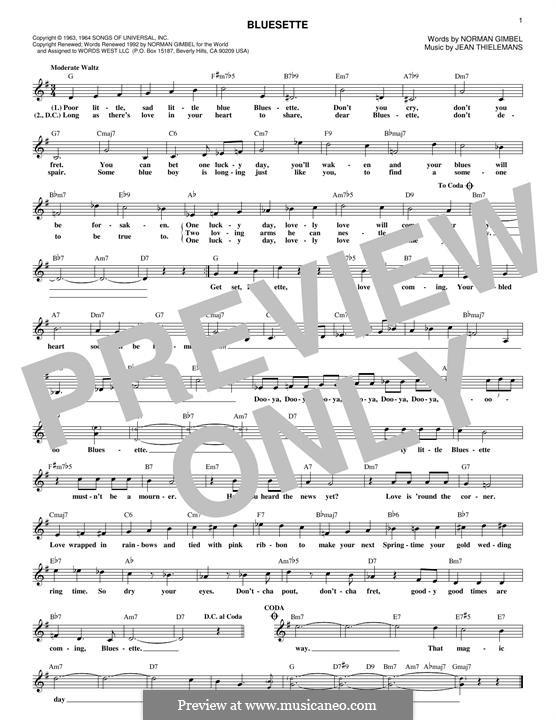 Bluesette: Melody line by Jean Thielemans