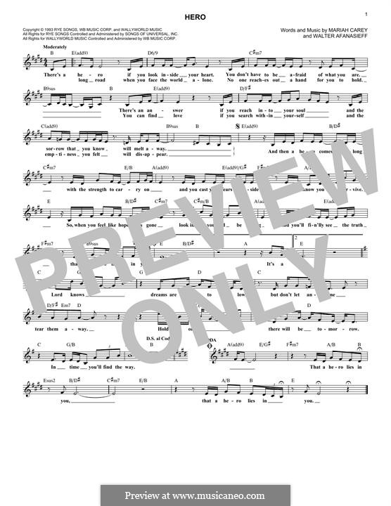 Hero: Melody line by Mariah Carey, Walter Afanasieff