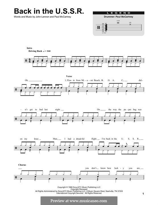 Back in the USSR (The Beatles): Drum set by John Lennon, Paul McCartney