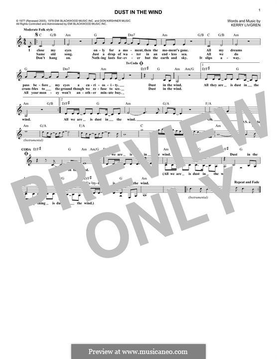 Dust in the Wind (Kansas): Melody line by Kerry Livgren
