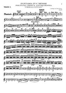 Fantasia in C Minor, Op.80: Violin I part by Ludwig van Beethoven