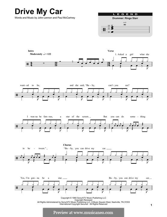 Drive My Car (The Beatles): Drum set by John Lennon, Paul McCartney