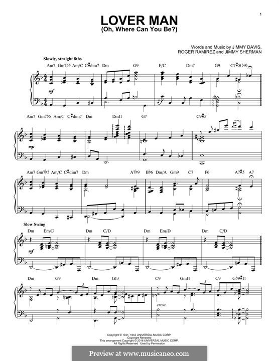 Lover Man (Oh, Where Can You Be?): For piano by Jimmie Davis, Jimmy Sherman, Roger Ramirez