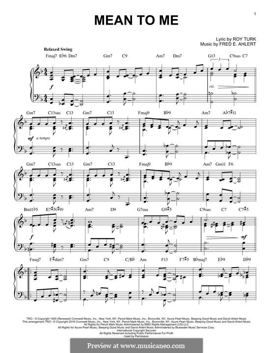 Mean To Me: For piano by Roy Turk, Fred E. Ahlert