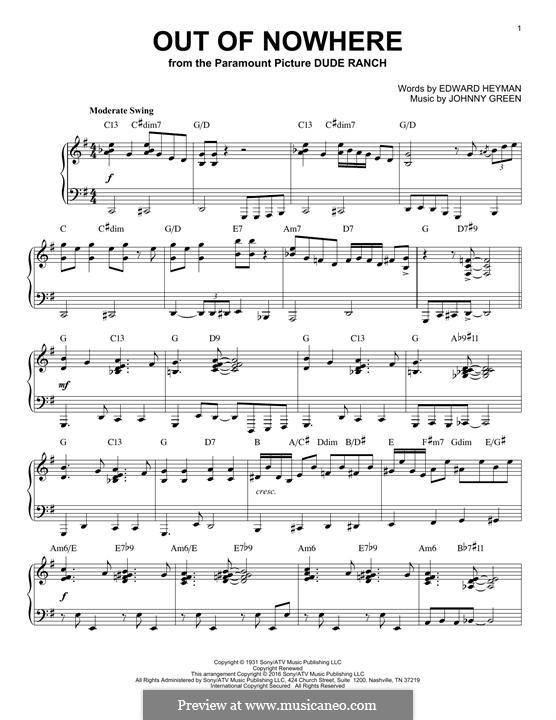 Out of Nowhere: For piano by John W. Green