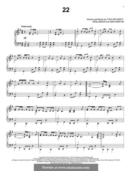 22: For piano by Taylor Swift