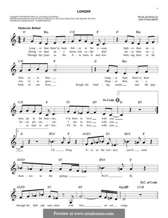 Longer: Melody line by Dan Fogelberg