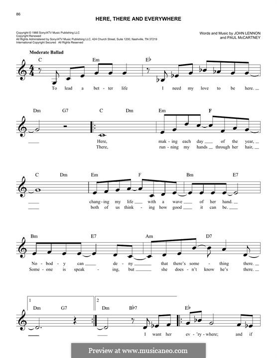 Here, There and Everywhere (The Beatles): Melody line by John Lennon, Paul McCartney
