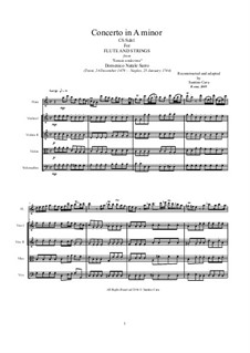 Concerto in A Minor for Flute and Strings: Score, parts, CS/Sdn1 by Domenico Sarro