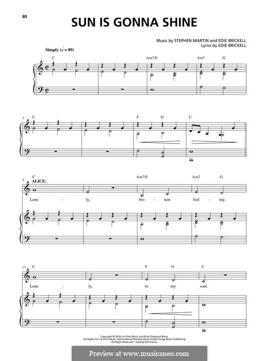 Sun Is Gonna Shine: For voice and piano by Edie Brickell, Stephen Martin