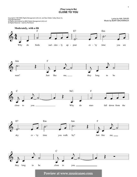 Close to You (They Long to be): Melody line by Burt Bacharach