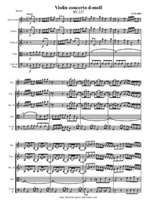 Concerto for Violin and Strings in D Minor, RV 237: Score and parts by Antonio Vivaldi