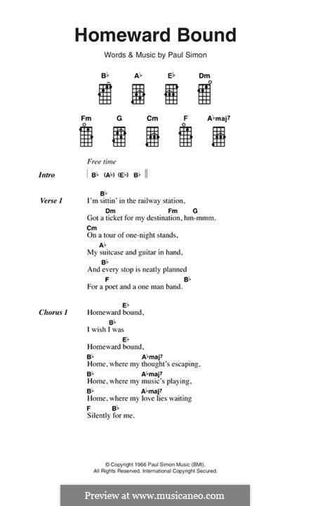 Homeward Bound (Simon & Garfunkel): Melody line by Paul Simon