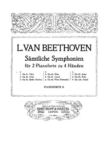 Complete Symphony: Version for two pianos four hands – piano II part by Ludwig van Beethoven