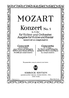 Concerto for Violin and Orchestra No.5 in A Major 'Turkish', K.219: Solo part by Wolfgang Amadeus Mozart