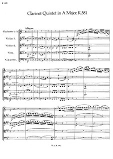 Quintet for Clarinet and Strings in A Major, K.581: Full score by Wolfgang Amadeus Mozart