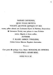 Sacrae Cantiones: Sacrae Cantiones by Blasius Ammon