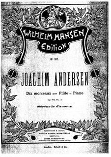 Ten Pieces for Flute and Piano, Op.62: No.4 Sérénade d'amour by Joachim Andersen