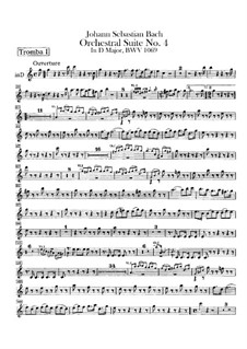 Orchestral Suite No.4 in D Major, BWV 1069: Trumpets parts by Johann Sebastian Bach