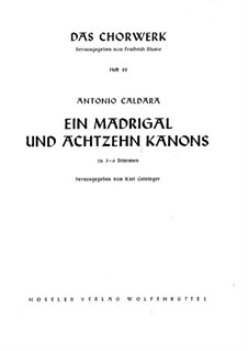 Madrigal and Eighteen Canons: Madrigal and Eighteen Canons by Antonio Caldara