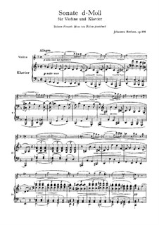 Sonata for Violin and Piano No.3 in D Minor, Op.108: Score, solo part by Johannes Brahms