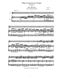 Concerto for Oboe and Strings in F Major, BWV 1053R: Version for oboe and piano by Johann Sebastian Bach