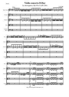 La stravaganza. Twelve Violin Concertos, Op.4: Violin Concerto No.11 in D Major 'La stravaganza' – score and parts, RV 204 by Antonio Vivaldi